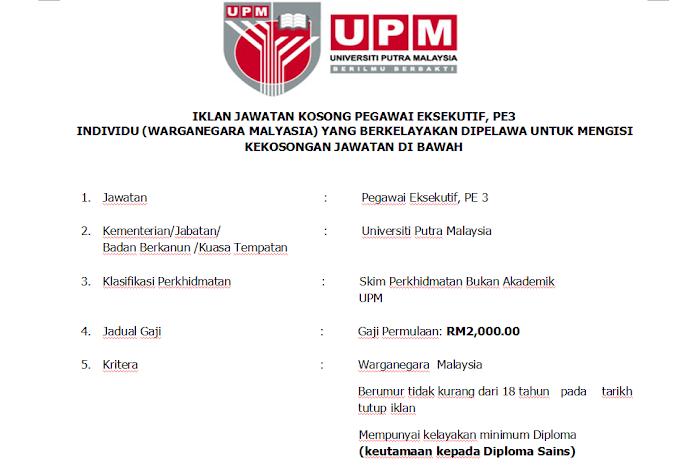 Jawatan Kosong di Universiti Putra Malaysia (UPM)