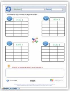 Ficha interactiva: Multiplicación 3x1 ABN