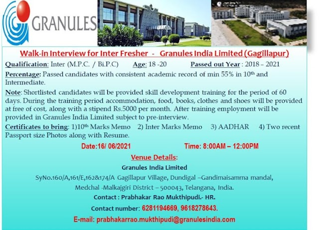 Granules India Ltd | Walk-in interview for Freshers on 16th Jun 2021