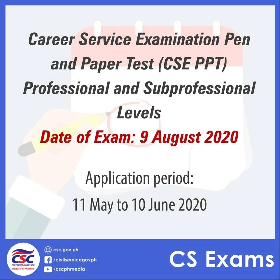 2020 Career Service Examination (CSE) Pen and Paper Test