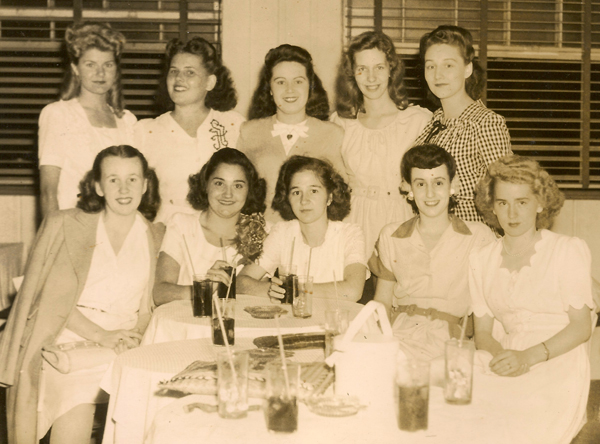 Photo of graduates of Battin High School, Elizabeth, NJ, class of 1945. Proud and lovely girls! Mary E. Dixon seated, far right.