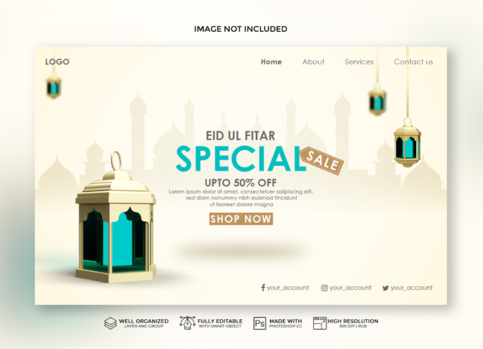 Realistic Eid Landing Page Sale Banner With 3D Moon