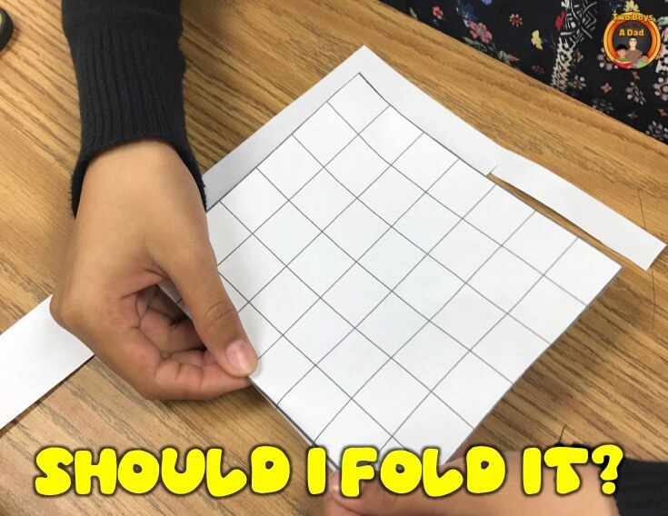 Can I fold an irregular shape to find the area?