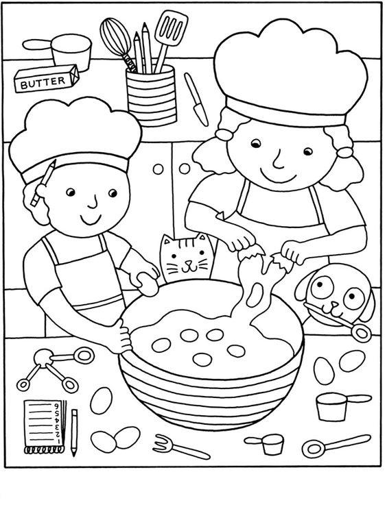 Tranh tô màu bé làm bếp