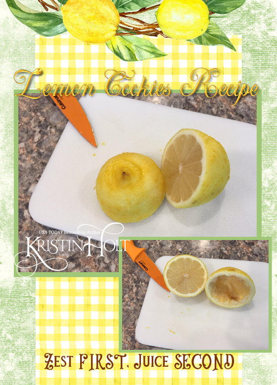 Kristin Holt | Lemon Cookies Recipe (1895), image 9: photos illustrate why it's easier to zest the lemon prior to juicing it.