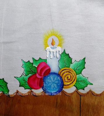 pintura em tecido vela recortada