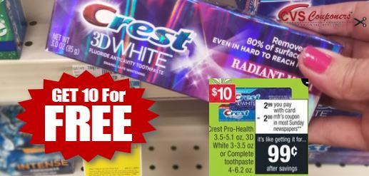 cvs couponer free crest 3d white