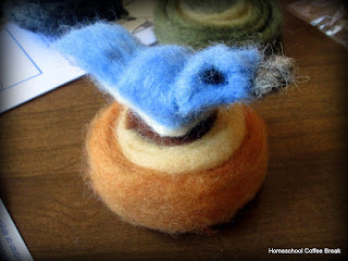 Art Resource Reviews on the Virtual Refrigerator, an art link-up hosted by Homeschool Coffee Break @ kympossibleblog.blogspot.com - Bluebird in wool felting, Sculpture Technique Model from ARTistic Pursuits