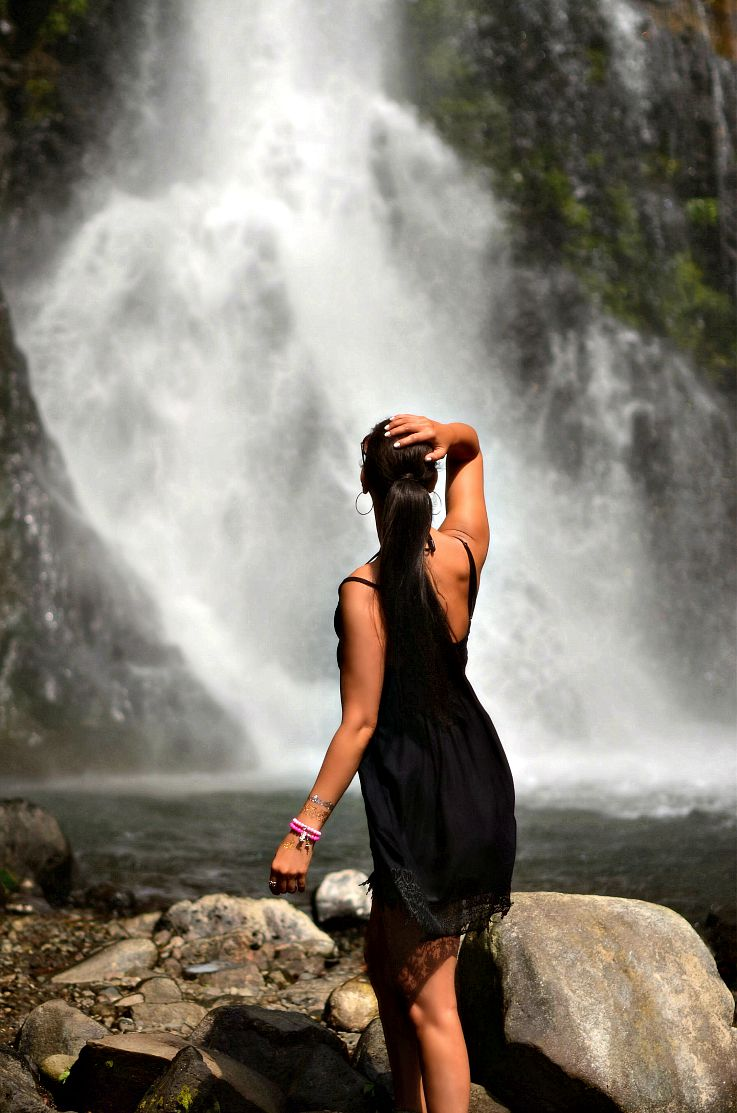 Gitgit waterfalls, Bali, Indonesia, Tamara Chloé, Black lace dress