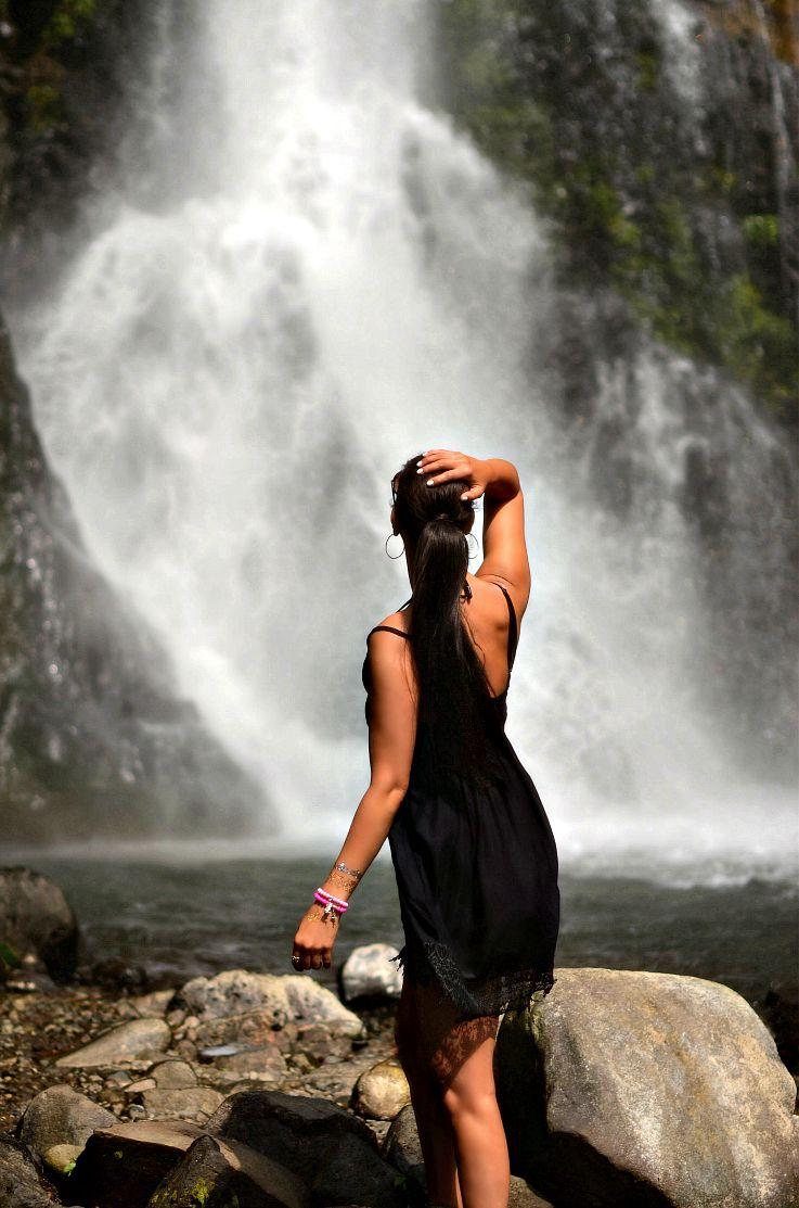 Gitgit waterfalls, Bali, Indonesia, Tamara Chloé, Black lace dress