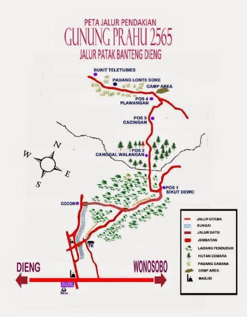 Peta Jalur Pendakian Gunung Prau via Patak Banteng