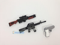 Look real toy guns - the rifle, the pistol, and the shotgun