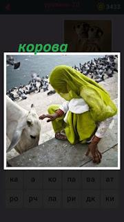 женщина в зеленом кормит белую корову на ступеньках