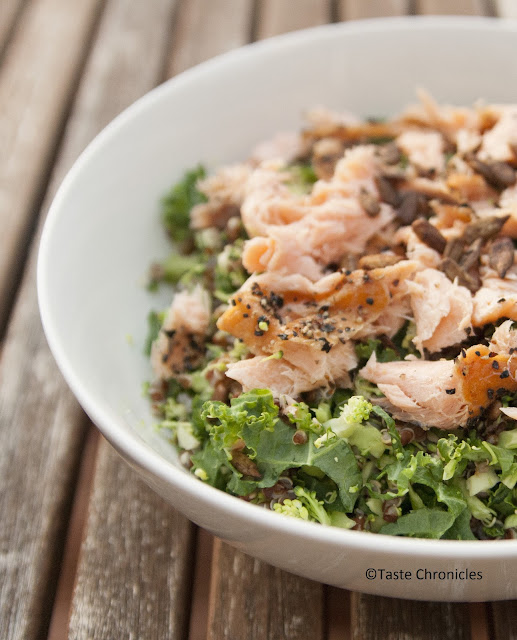Power Salad - Red quinoa, Kale, Broccoli and smoked Salmon topped with crunchy toasted sunflower seeds