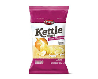 A stock image of Clancy's Sweet Maui Onion Kettle Chips, from Aldi