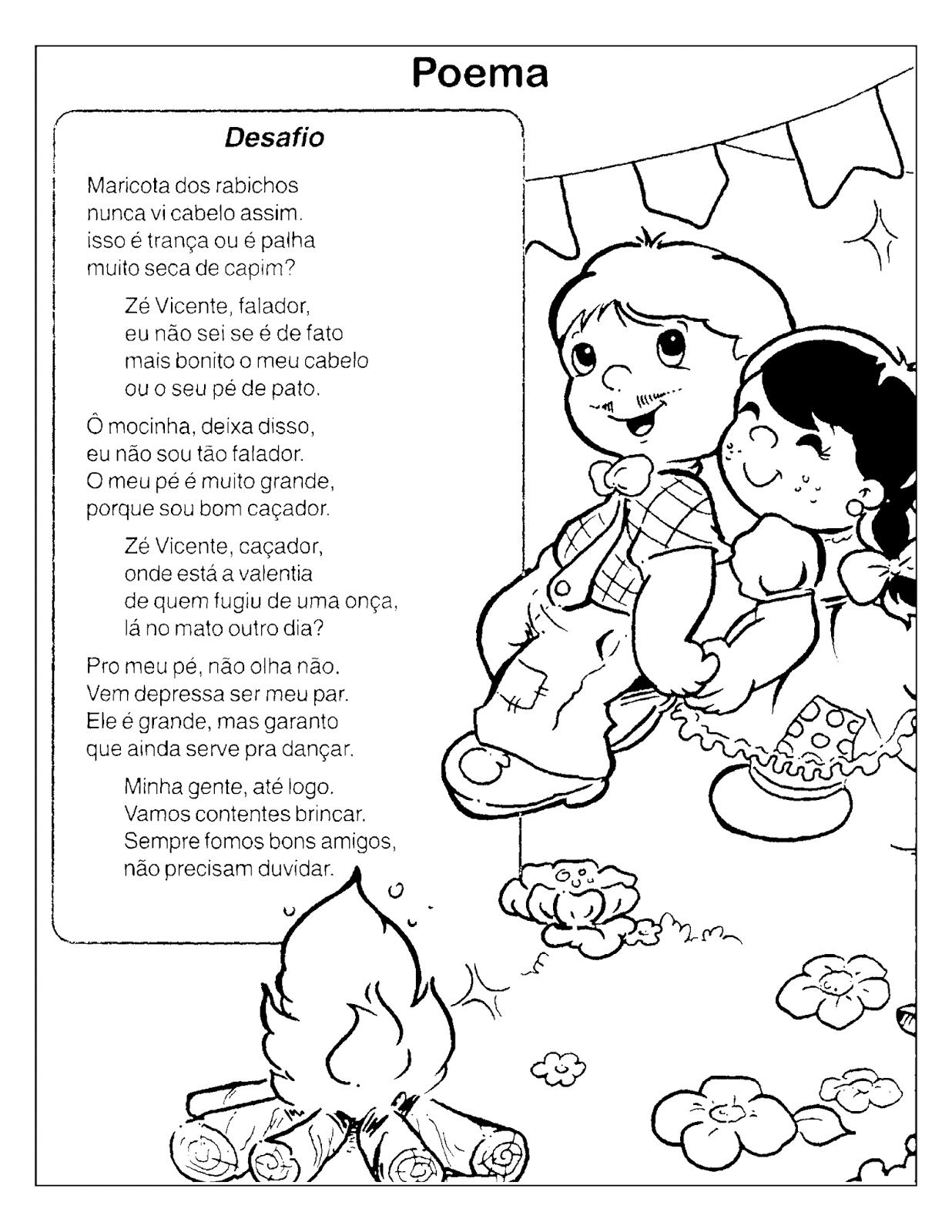 Poemas sobre Festa Junina com desenhos para colorir