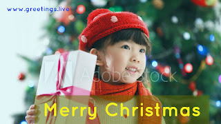 Cute china girl with Christmas gifts