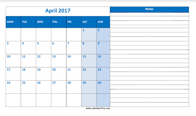 April 2017 Printable Calendar, April 2017 Calendar, April 2017 Calendar Printable, April 2017 Calendar Template, April 2017 Blank Calendar, April Calendar 2017