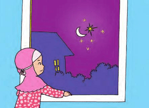 melihat bintang-bintang dan bulan di langit pada malam hari
