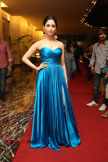 Actress Tamannaah Pictures in Blue Long Dress at Abhinetri Audio Launch  0205
