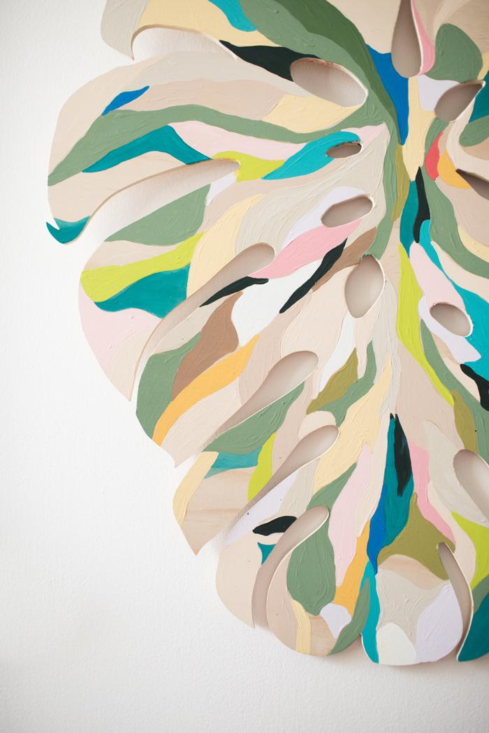 painted monstera leaf