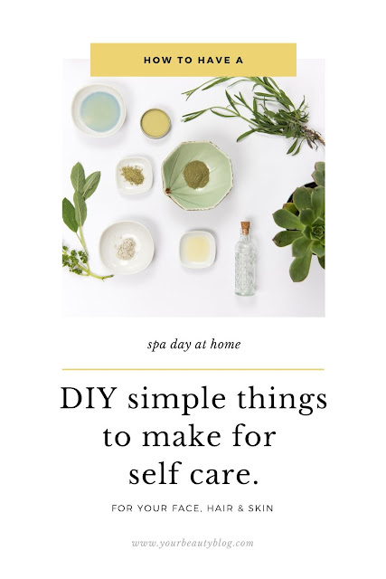 How to have a spa day at home. Take care of your self with DIY simple things to do on a spa day. Practice self care and spend a relaxing afternoon with these mini ideas that are easy to make with things you already have at home. DIY how to have a perfect spa treatment at home. Includes what to do on a DIY spa day for women or men.  This list is easy DIY bath and body treatments that you can make at home. #spaday #selfcare