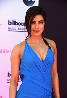Priyanka Chopra looking as Beautiful on the ‎BBMAs‬ pink carpet in blue Official Versace