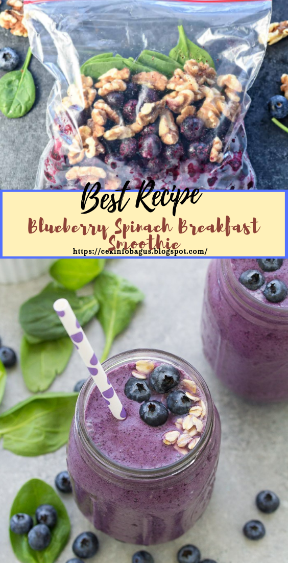 Blueberry Spinach Breakfast Smoothie  #healthydrink #easyrecipe #cocktail #smoothie