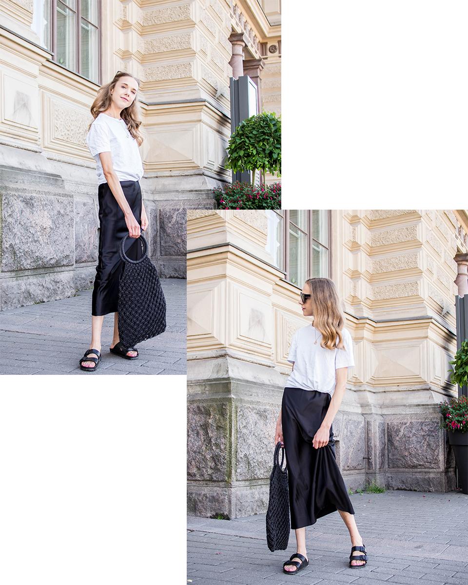 Black slip dress and white t-shirt outfit - Musta silkkimekko ja valkoinen t-paita