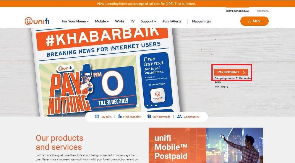 Cara Nak Claim Unifi Free Internet