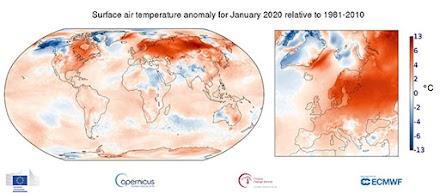 Ο Ιανουάριος του 2020 ήταν ο θερμότερος που έχει ποτέ καταγραφεί
