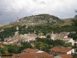 A view of the town of Pescina in the Abruzzo, with the Piccolomini Tower on a hillside above