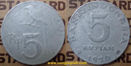 Gambar Uang Logam 5 Rupiah Tahun Emisi 1970