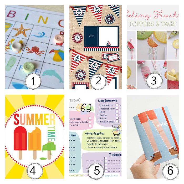 12 imprimibles gratis inspirados en el verano: bingo portátil, guirnalda, toppers, tags, láminas, planificador, libreta de viaje