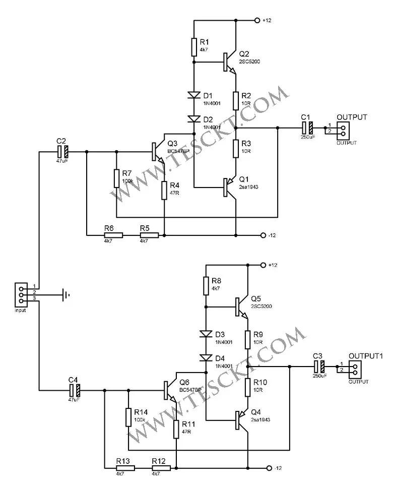 2sc5200 2sa1943 amplifier circuit diagram