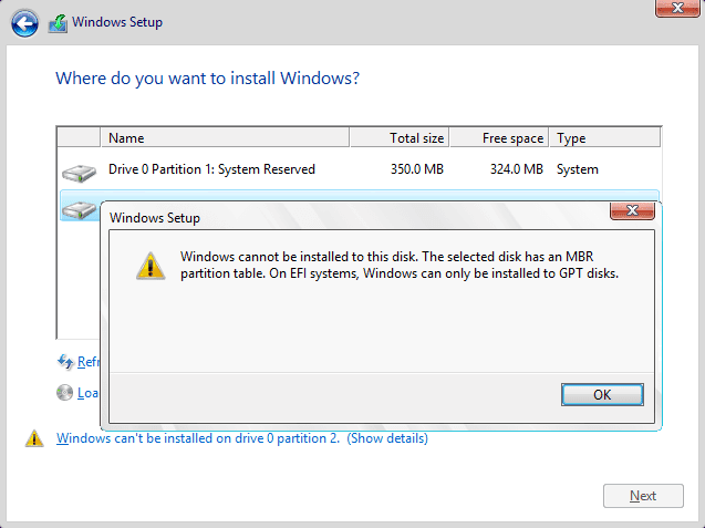 """Mengatasi Error """"Windows can't be installed on drive 0"""