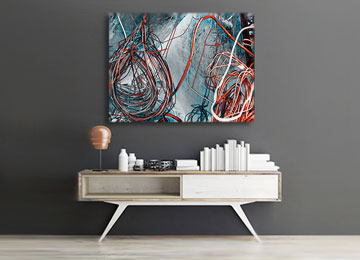 orange, blue, black and white, urban art, abstract art, urban photography, contemporary art, modern art, canvas art, wall art, Sam Freek,