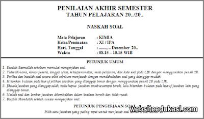 Soal Pas Kimia Kelas 11 K13 Tahun 2020 2021 Websiteedukasi Com