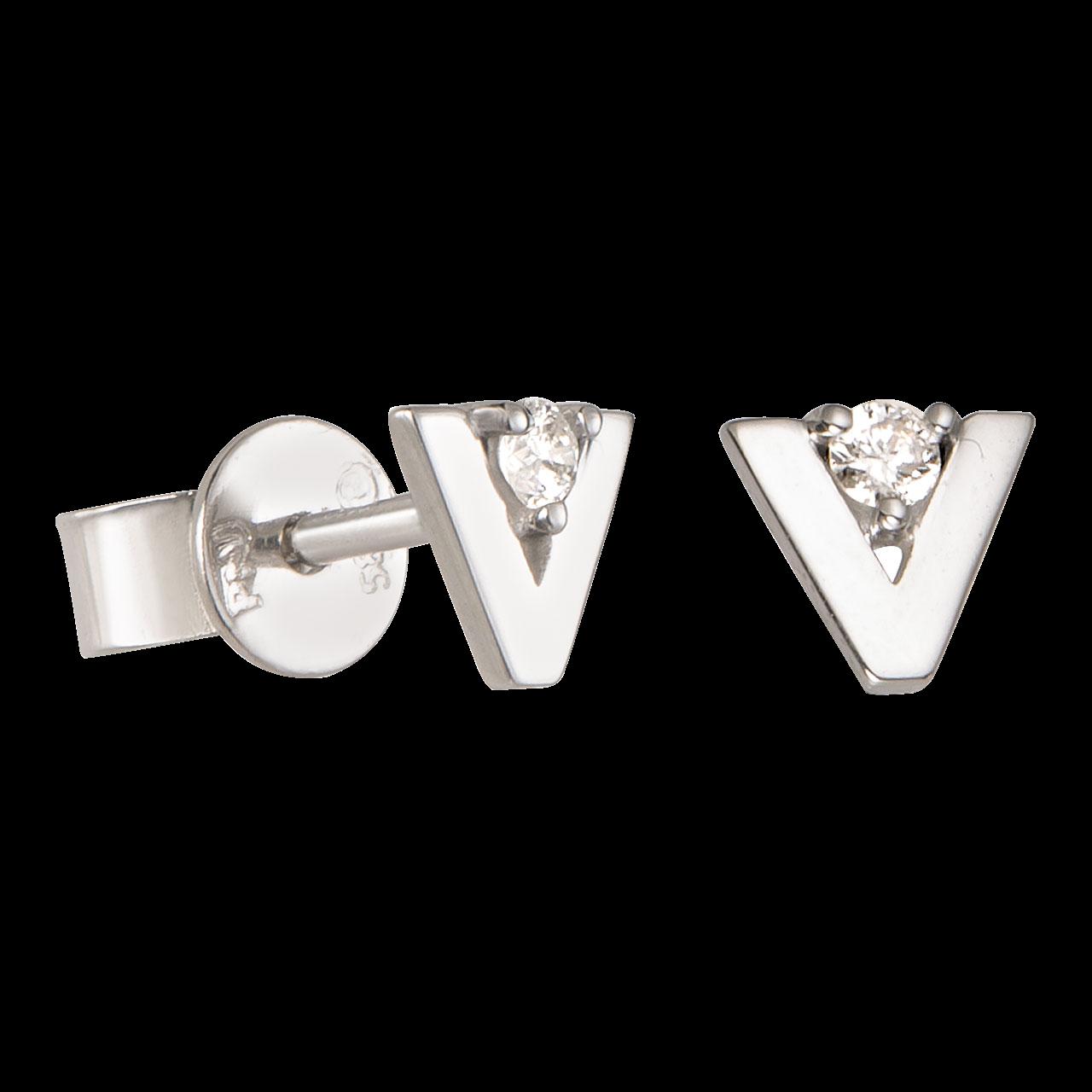 Bông tai Kim cương Vàng trắng 14K PNJ DD00W000392
