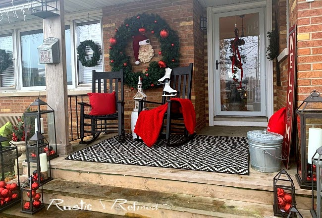 Front porch for Christmas - decorating using budget hacks