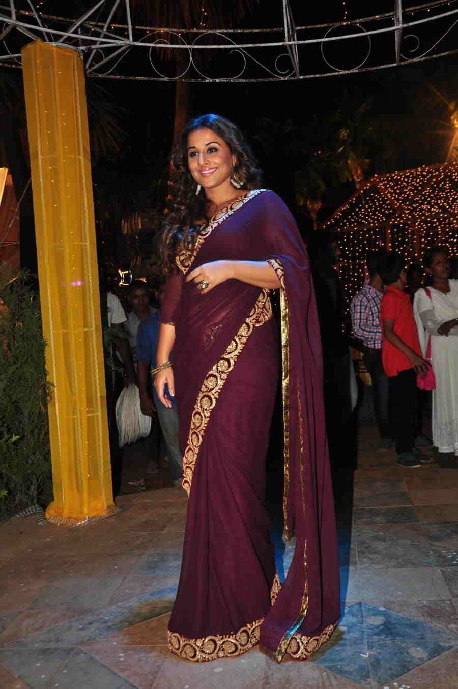 Beautiful Hindi Girl Vidya Balan Photos In Transparent Maroon Sari