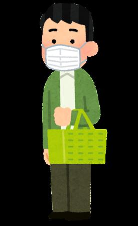 マスクを付けて買い物をする人のイラスト(男性)