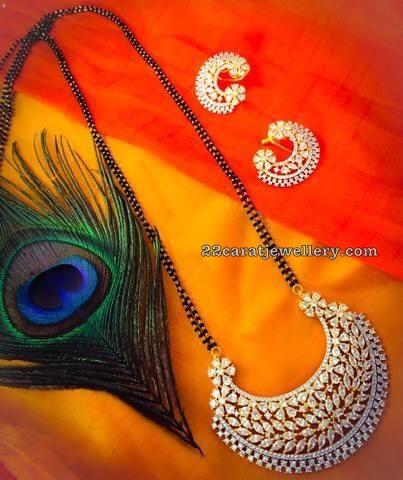 Black Beads Necklace Half Moon Design Pendant