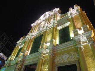 The illuminated facade of Sto. Domingo Church in Macau