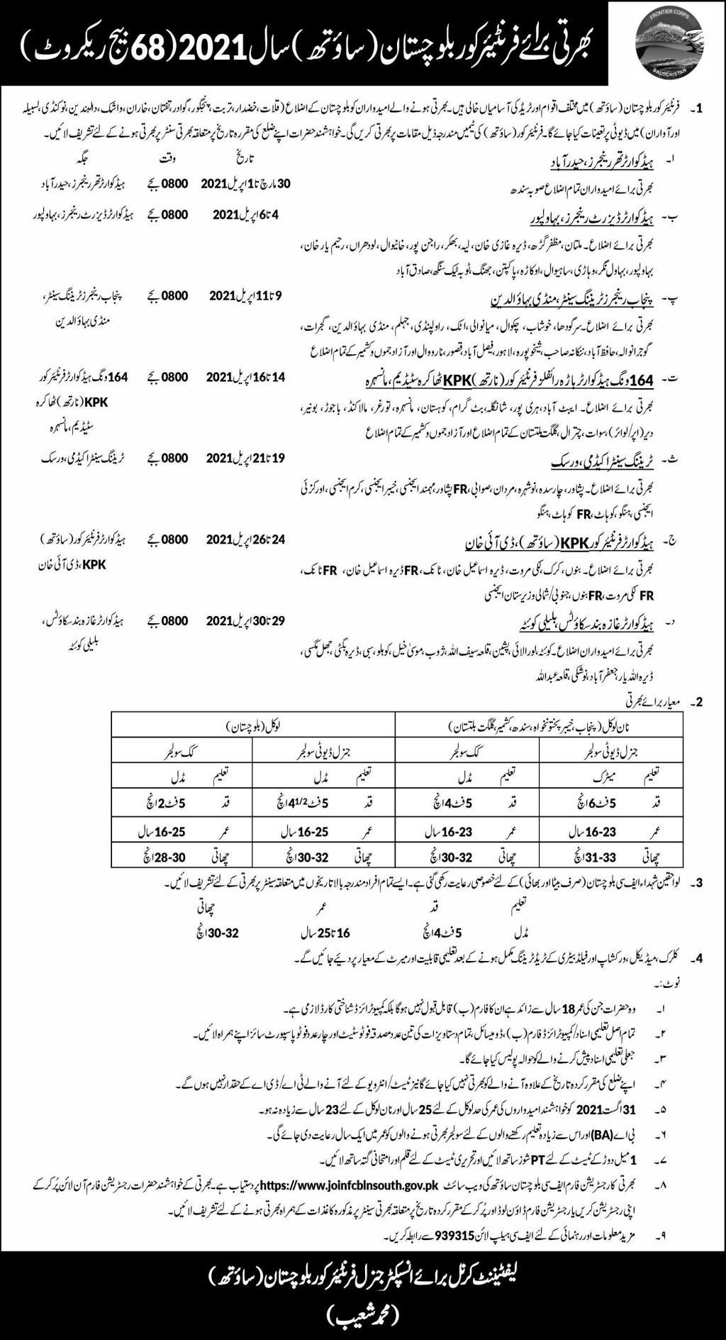 Frontier Core Balochistan FCB South 68 Batch Recruitment Jobs 2021 | Online Application Form Sindh