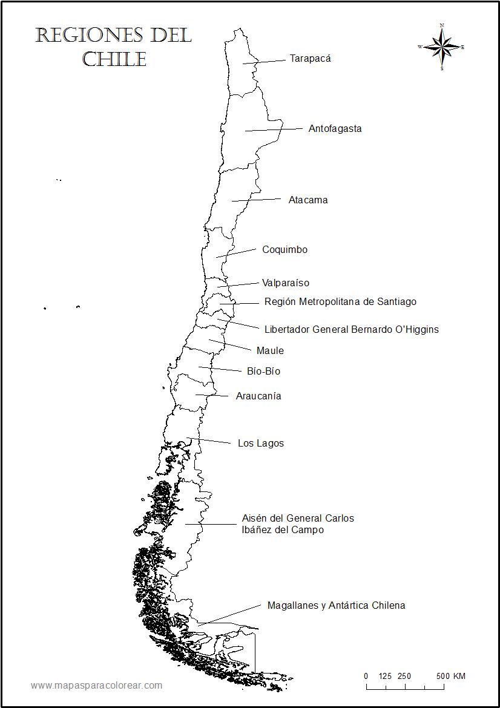 imágenes de mapa de Chile y sus regiones para colorear