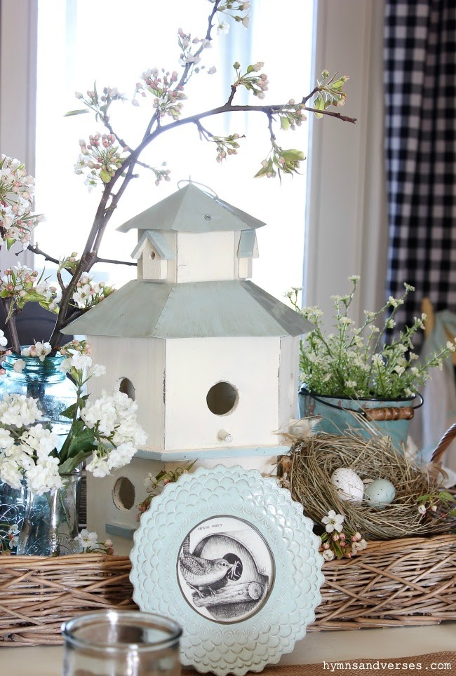 Hymns and Verses | Bird House Tablescape for Spring