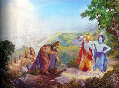 Krishna and Balarama summons Yama