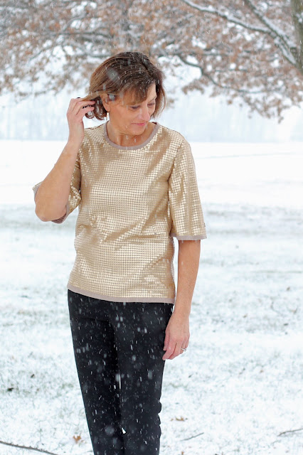 Butterick 6175  from Style Maker Fabrics' Sequin Knit - in the snow