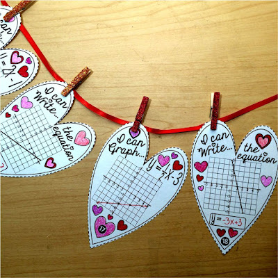 slope intercept hearts math pennant for Valentine's Day in Algebra